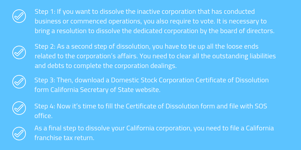 Steps to Dissolve an Inactive Corporation – If Commenced any Business Operation and Issued Shares
