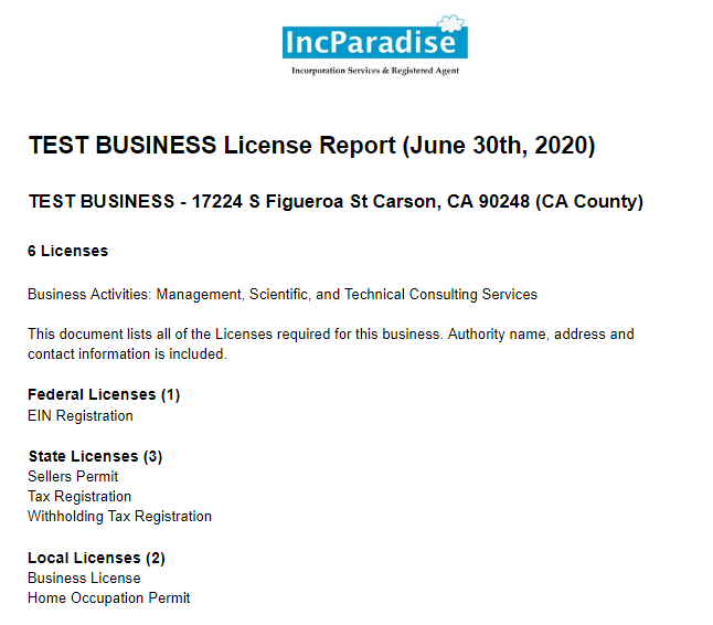 Business License Research Report